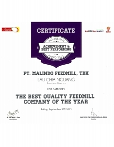 THE BEST QUALITY FEEDMILL COMPANY OF THE YEAR 2013