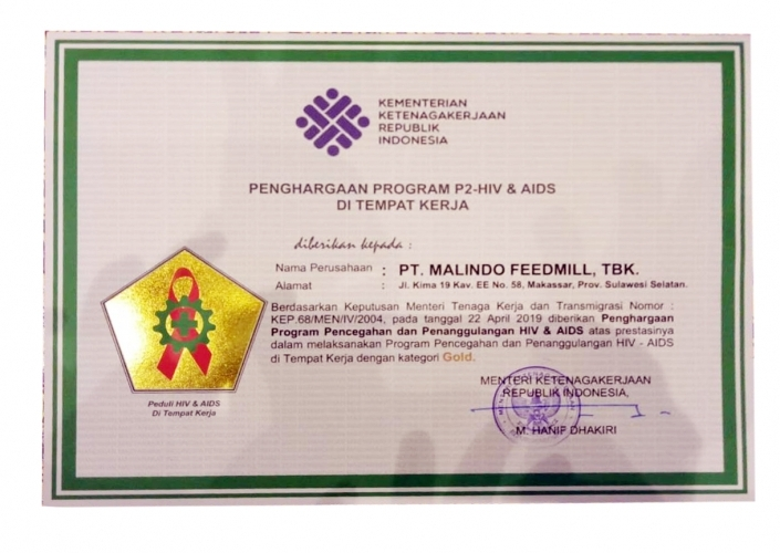 Makassar Plant Received an Award from The Ministry of Manpower of The Republic of Indonesia