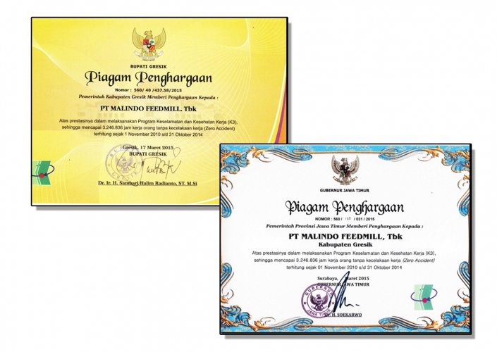 Malindo Gresik Plant Received  Zero Accident Award in the District and Province Level